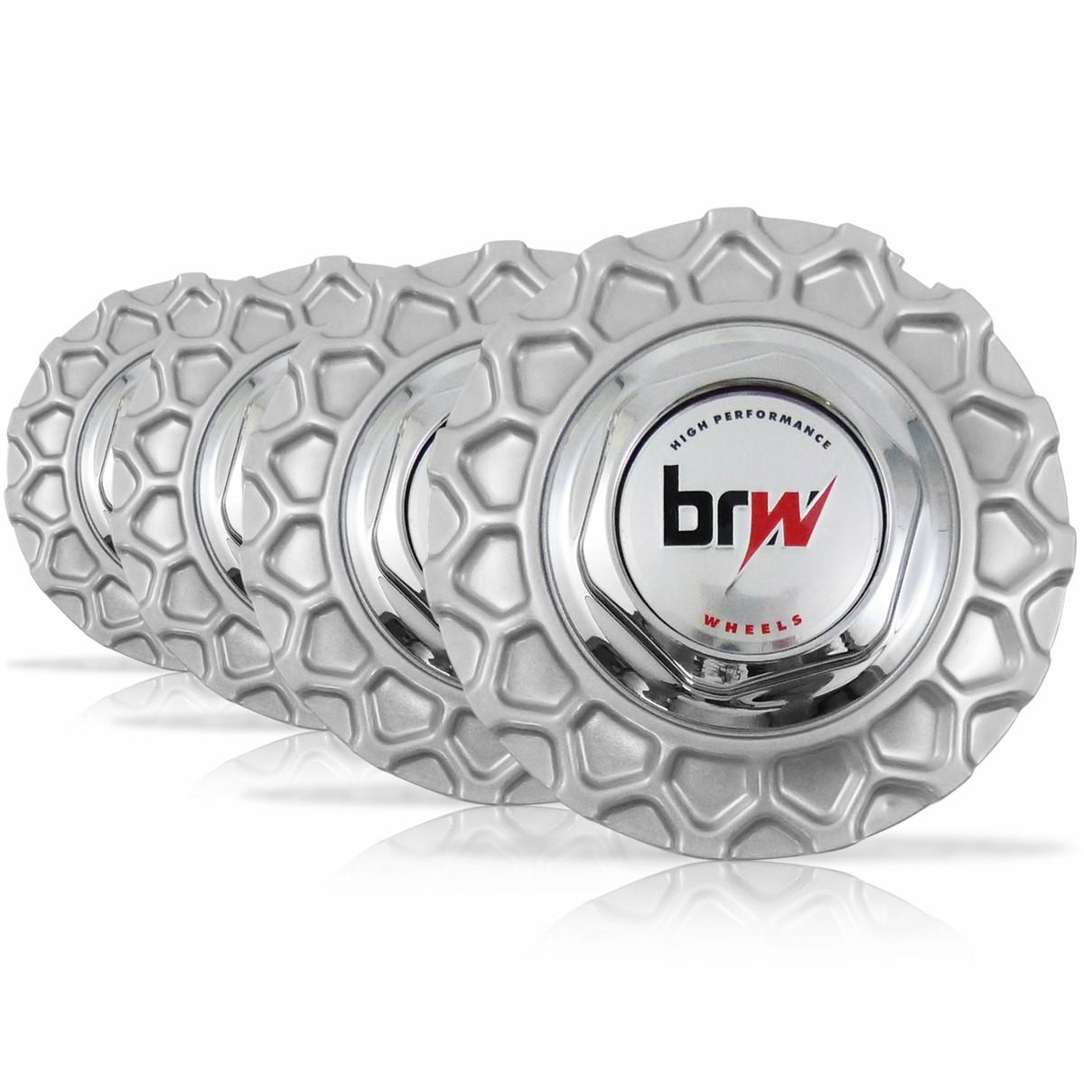 Jogo 4 Calota Centro Miolo Roda BBS Brw900 Prata Emblema