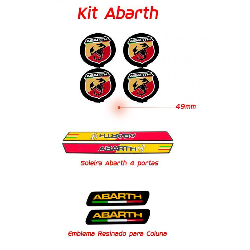 Kit Resinado Abarth Soleira Emblema e Centro Roda Vermelho