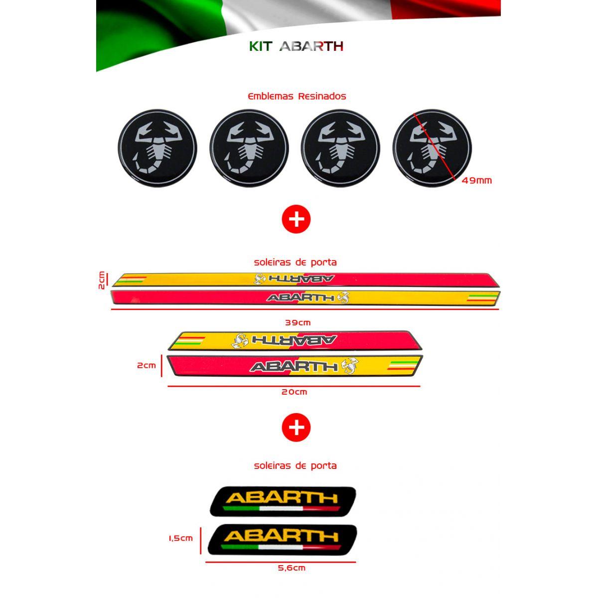 Kit Resinado Abarth Soleira Emblema Roda Adesivo Coluna