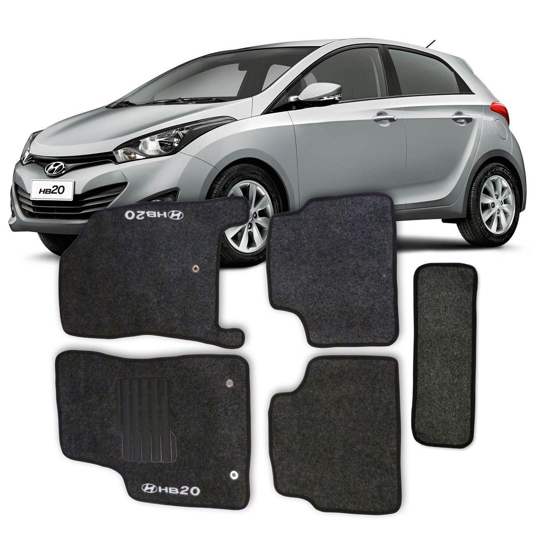 Tapete Carpete Hyundai Hb20 Personalizado 5 Peças - Grafite