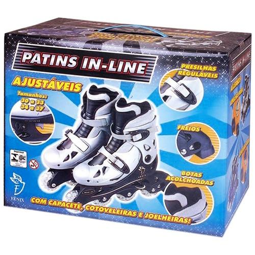 Patins In Line Prata nº 30 ao 33 - Fênix