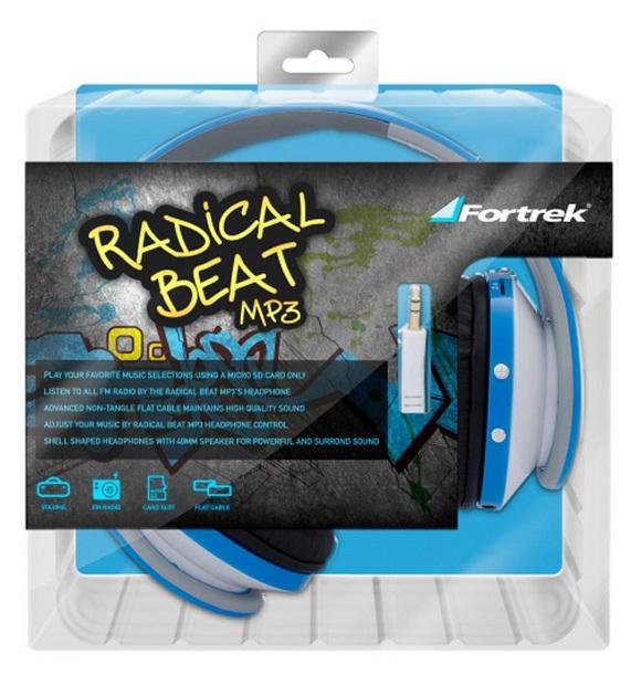 Fone de Ouvido Radical Beat MP3 com FM Azul - Fortrek
