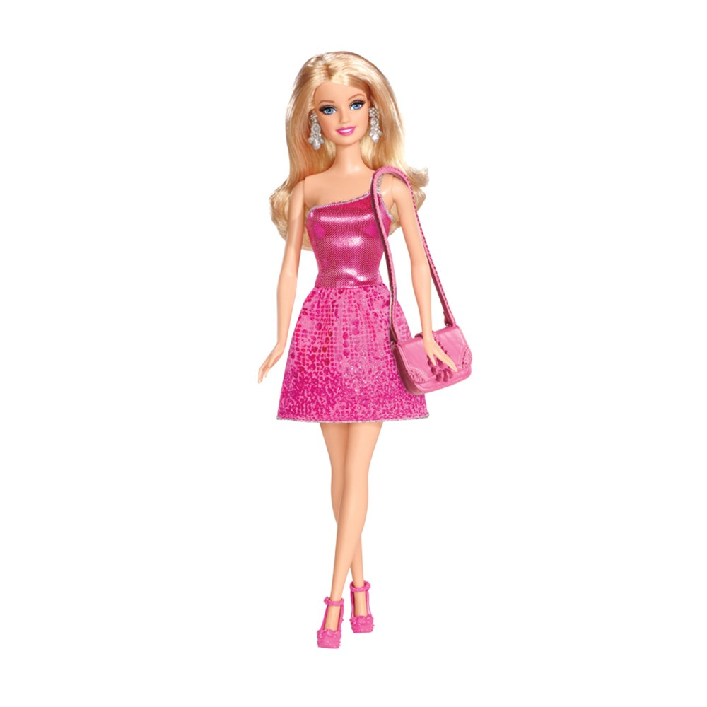 Boneca Barbie B�sica Glitz Vestido Rosa - Mattel