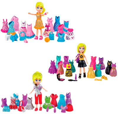 Boneca Polly Pocket Looks Especiais - Balada/ Festa de Aniversário/ Show de Rock - Mattel