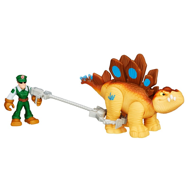 Boneco Jurassic World Dinossauro Stegosaurus e Caçador Playskool Heroes - Hasbro