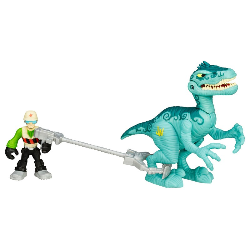 Boneco  Jurassic World Dinossauro Velociraptor e Caçador Playskool Heroes - Hasbro