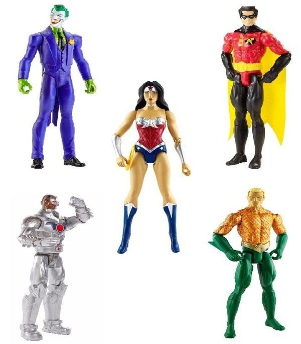 Boneco Liga da Justiça - Aquaman/ Coringa/ Cyborg/ Mulher Mravilha/ Robin - Mattel