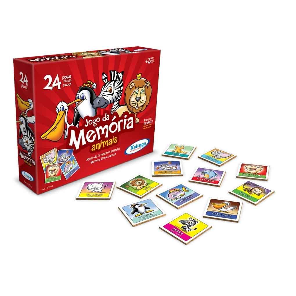 Jogo da Memória  Animais 24 Peças em Madeira - Xalingo