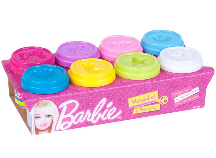 Massinha Barbie 8 Potes 50g - Barão Toys