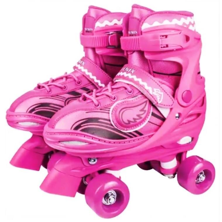 Patins Power Roller Star Ajustável Seu Patins com Luzes 4 Rodas Rosa - Fênix