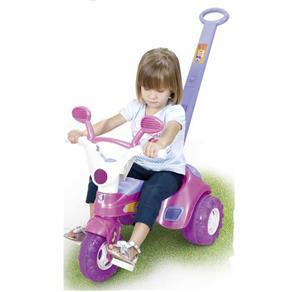 Triciclo Infantil Baby Music Rosa com Empurrador - Cotiplás