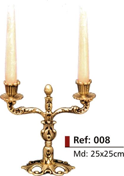 Castiçal rico em detalhes - 2 Velas - Bronze -  ref:008  - Bronze Shop
