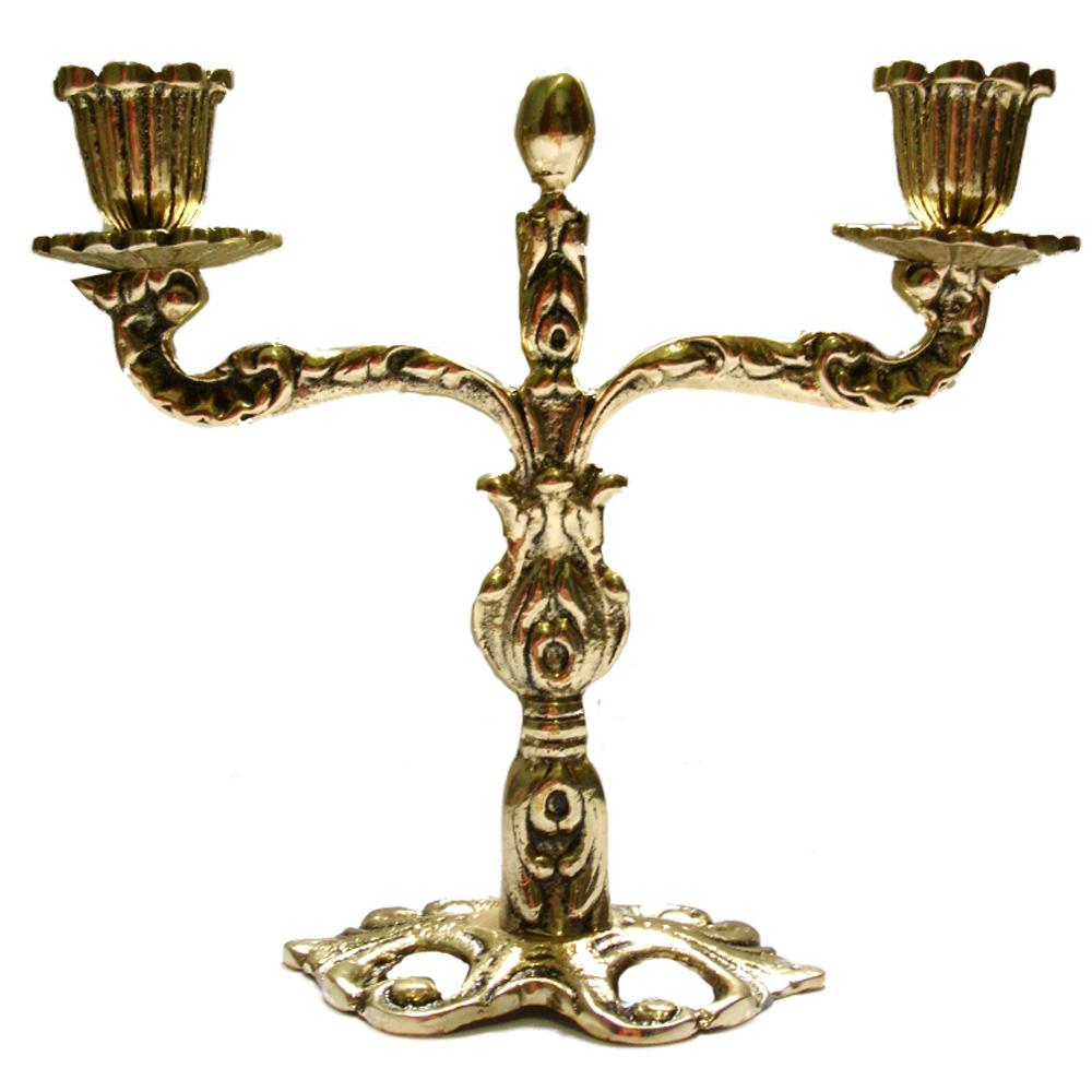 Castiçal rico em detalhes - 2 Velas - Bronze -  ref:008  - BronzeShop