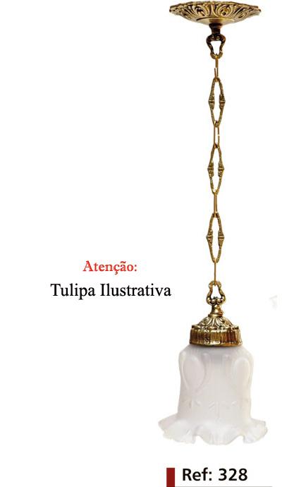 Lustre Pendente Primavera em Bronze Com Tulipa Inquebrável - ref:1328  - Bronze Shop