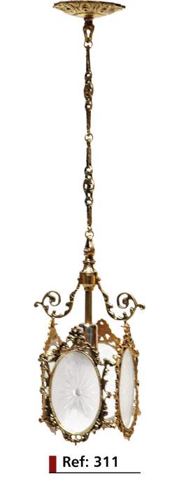 Lustre Medalhão 4 Lados - Bronze e Vidro Jateado e Decorado  -  ref: 311  - Bronze Shop