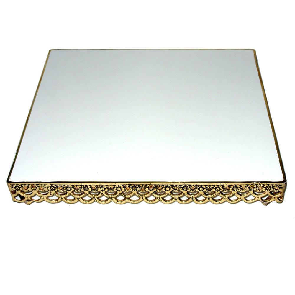 Porta bolo quadrado - Bronze. Polido   ref: 399  - Bronze Shop
