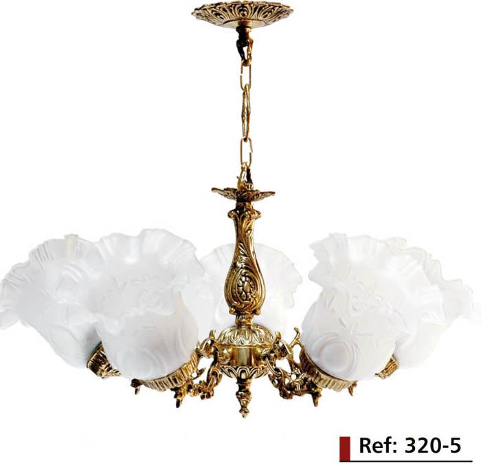 Lustre Rio - em Bronze - Para 5 Lâmpadas - Com Tulipa de Plástico - ref: 320  - Bronze Shop