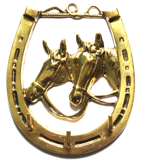 Porta-Chaves Ferradura com 2 Cavalos - Bronze - ref 171  - Bronze Shop