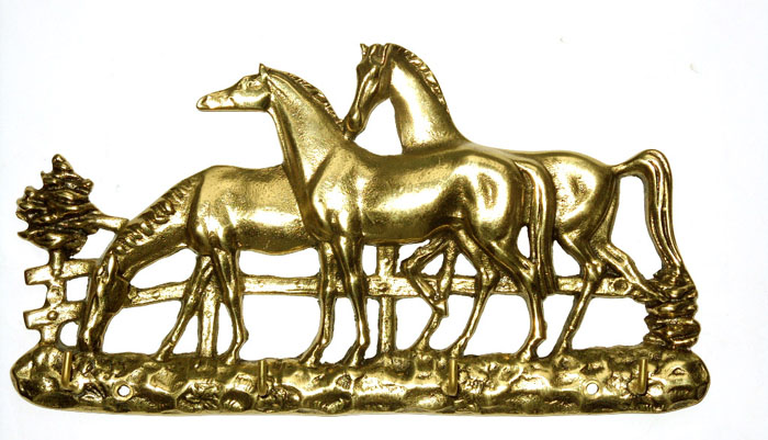 Porta Chaves 3 cavalos - Bronze  -   ref: 307  - Bronze Shop