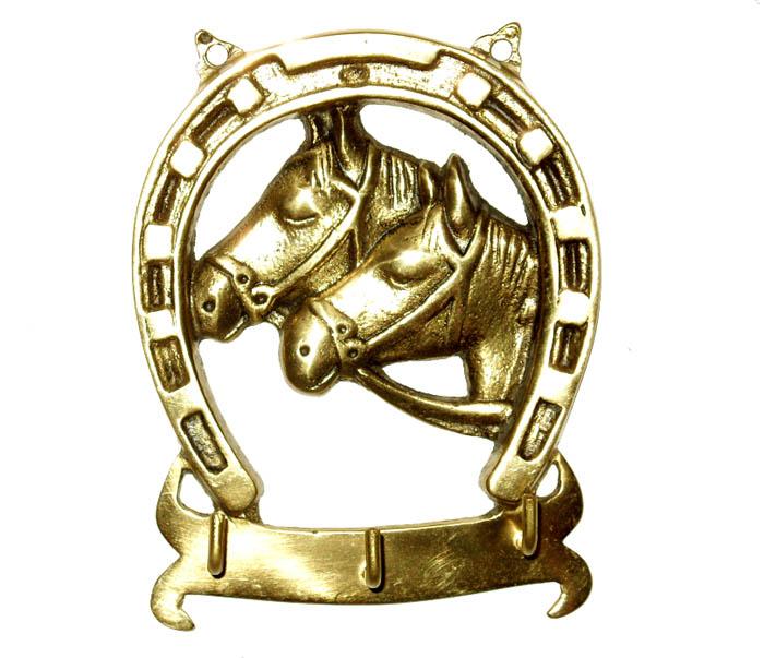 Porta Chaves Ferradura com 2 Cavalinhos - Bronze   -   ref: 310  - BronzeShop