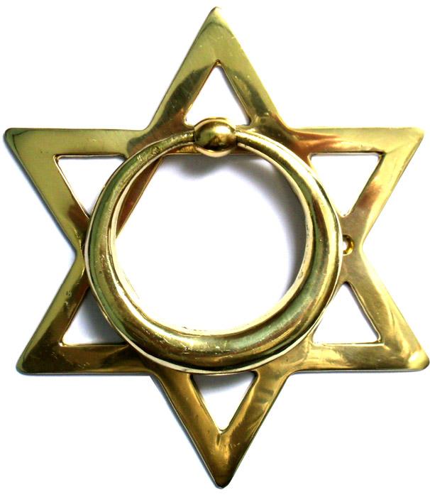 Batedor de Porta - Aldrava - Estrela de Davi - Bronze Maciço  - Bronze Shop