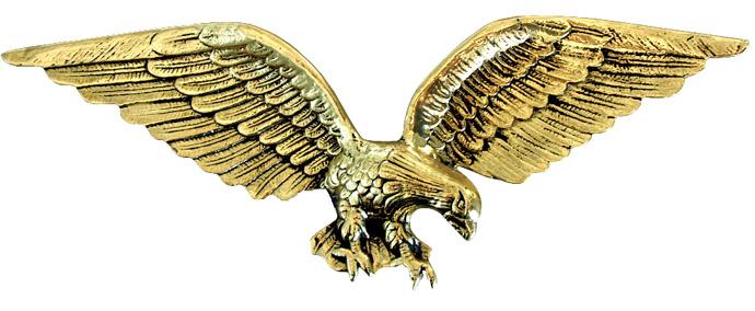 Águia Gigante - Bronze Polido - Rica em Detalhes - 21x58 cm  - BronzeShop