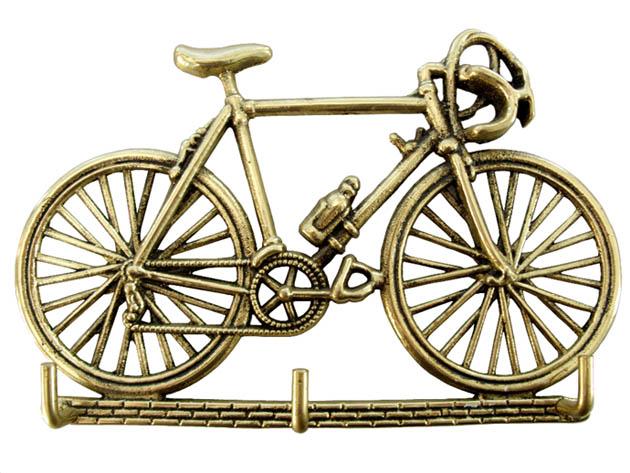 Porta Chaves Bicicleta - Bronze Maciço Polido 21x13 cm  - Bronze Shop
