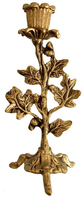 Castiçal Árvore - Folhagem-Ref: 052  - Bronze Shop