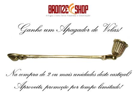 Castiçal Alto  para Igrejas e Altar - Bronze -Ref: 0363 - Apagador de Velas Grátis!!  - BronzeShop