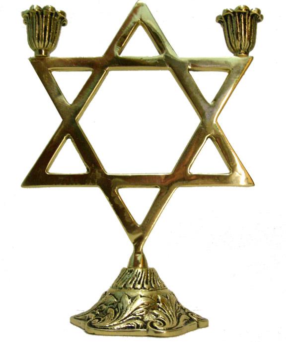 Castiçal Estrela de Davi - 2 velas - Bronze maciço  - BronzeShop