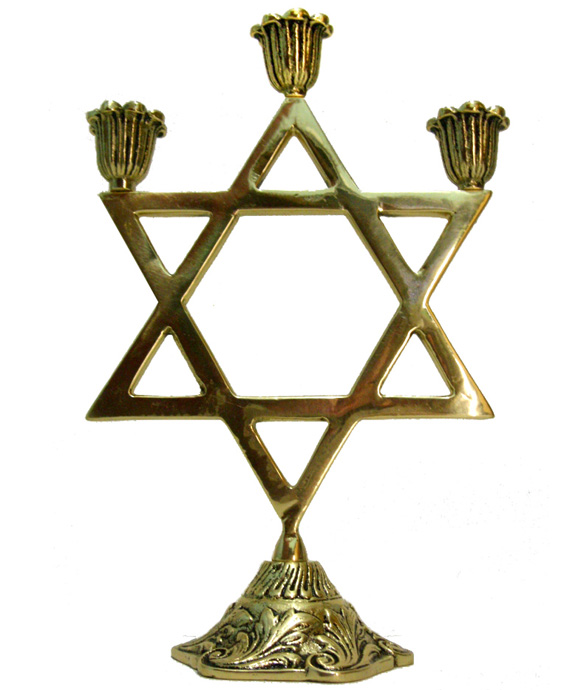 Castiçal Estrela de Davi - 3 velas - Bronze maciço  - Bronze Shop