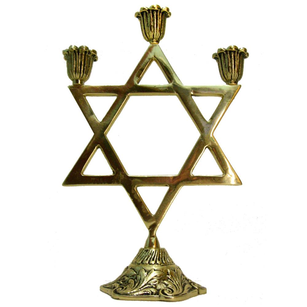 Castiçal Estrela de Davi - 3 velas - Bronze maciço  - BronzeShop