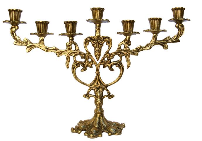 Candelabro 7 Velas - Rico em Detalhes - Bronze Maciço  - Bronze Shop