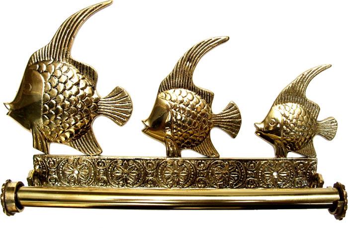 Porta Papel Toalhas Peixes - Bronze Maciço  - Bronze Shop