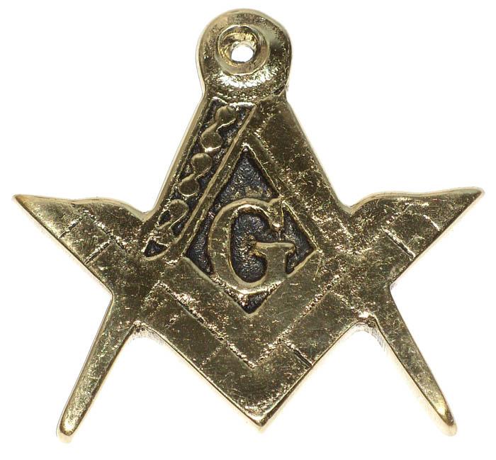 Emblema Brasão Maçonaria 7x7 cm- Bronze Maciço  - Bronze Shop