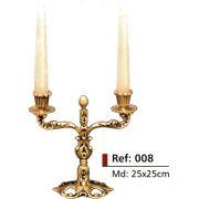 Castiçal rico em detalhes - 2 Velas - Bronze -  ref:008