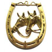 Porta-Chaves Ferradura com 2 Cavalos - Bronze - ref 171