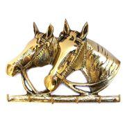 Porta Chaves Grande 22x16 cm - 2  Cavalos - Bronze  -  ref: 260