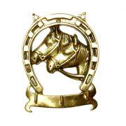 Porta Chaves Ferradura com 2 Cavalinhos - Bronze   -   ref: 310