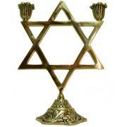 Castiçal Estrela de Davi - 2 velas - Bronze maciço