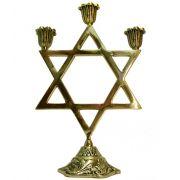 Castiçal Estrela de Davi - 3 velas - Bronze maciço