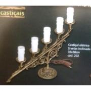 Candelabro elétrico para 5 lâmpadas - (Luminária) - Bronze Maciço