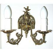 Arandela Castiçal Elétrico Em Bronze Para 2 Lâmpadas