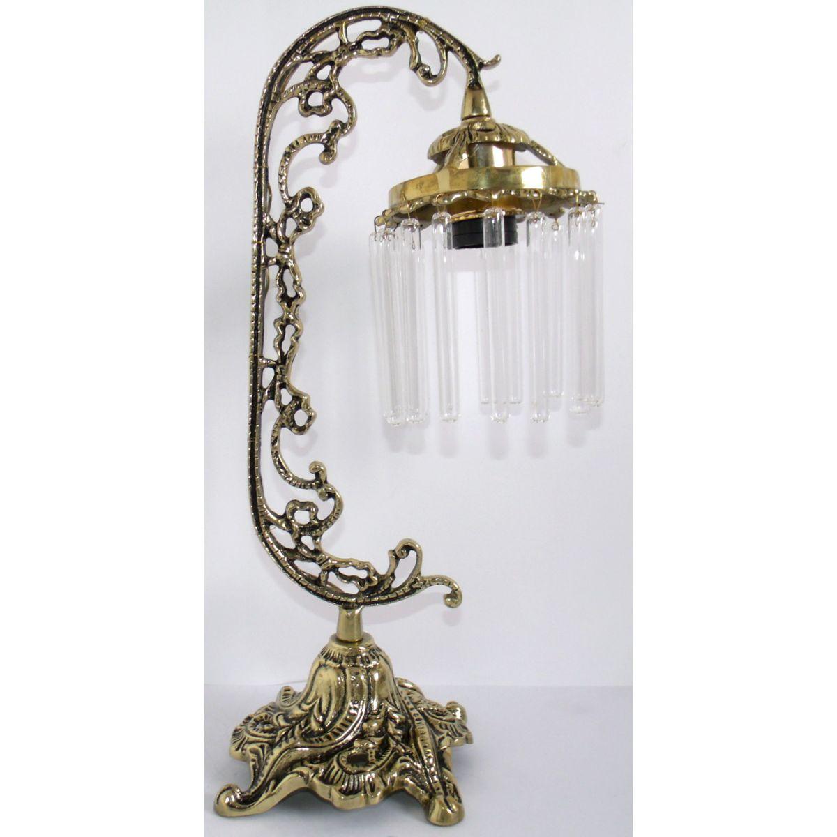 Abajur Luminária Colonial em Bronze Com Cristais  - Bronze Shop