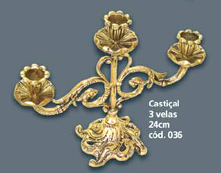 Castiçal para 3 Velas Bronze  - Bronze Shop