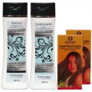 Kit com 1 shampoo 1 condicionador 2 loções queda de cabelo