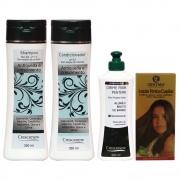 Kit com shampoo condicionador e creme de pentear mais loção capilar queda de cabelo