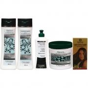 Kit shampoo condicionador creme de pentear máscara capilar e loção queda de cabelo