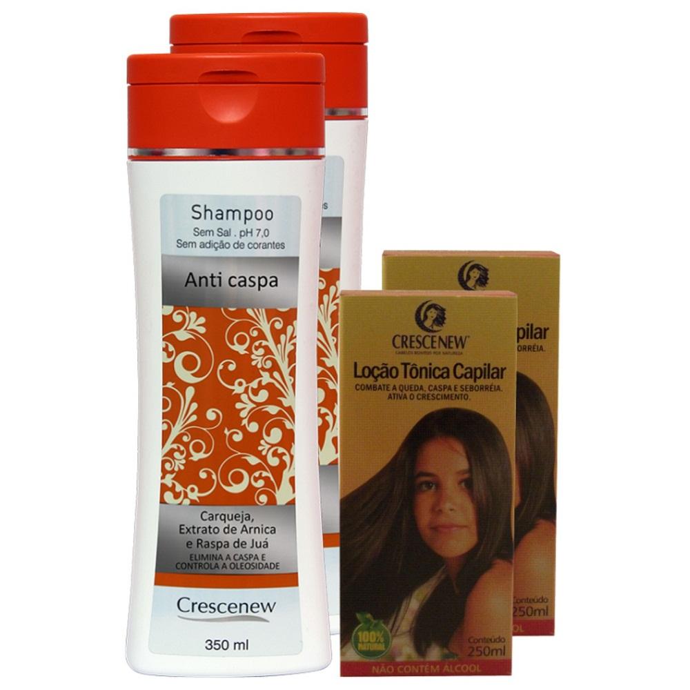 kit 2 Shampoo 2 Loções Capilar Anticaspa Crescenew
