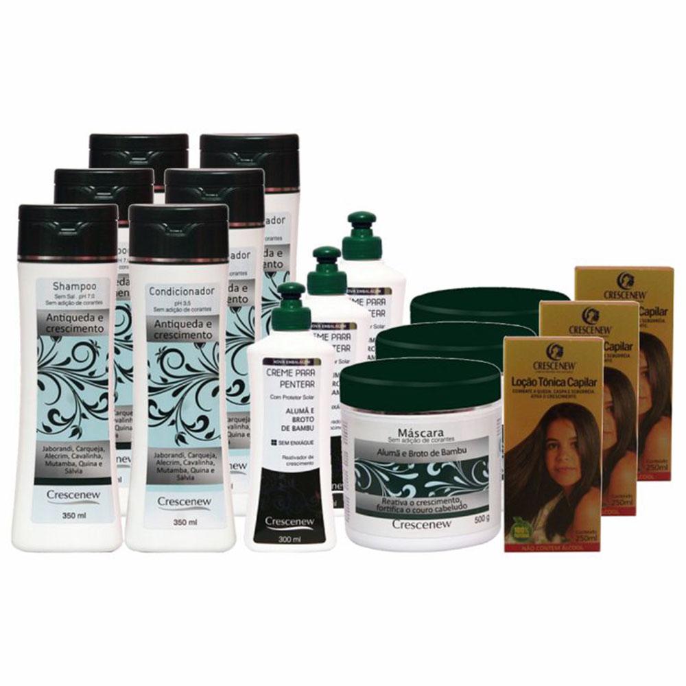 Kit 3 shampoo 3 condicionador 3 creme de pentear 3 máscara capilar e 3 loção queda de cabelo